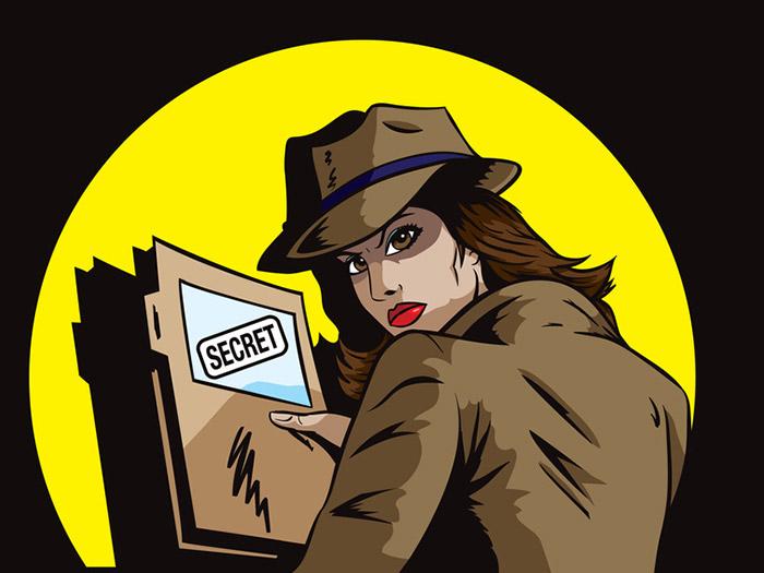 Secret agent with plans